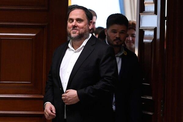 El ex vicepresidente de Cataluña y miembro electo del Parlamento, Oriol Junqueras, en el edificio del Parlamento en Madrid. Foto: AFP