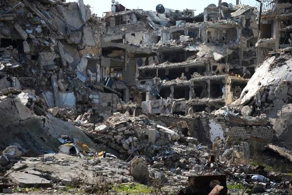 Edificios destruidos en la antigua ciudad de Homs, Siria.