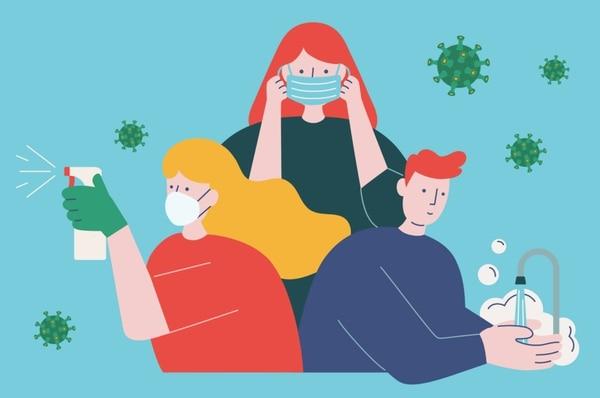 El lavado de manos, el distanciamiento y la higiene son buenas armas contra el nuevo coronavirus. Ilustración: Shutterstock.