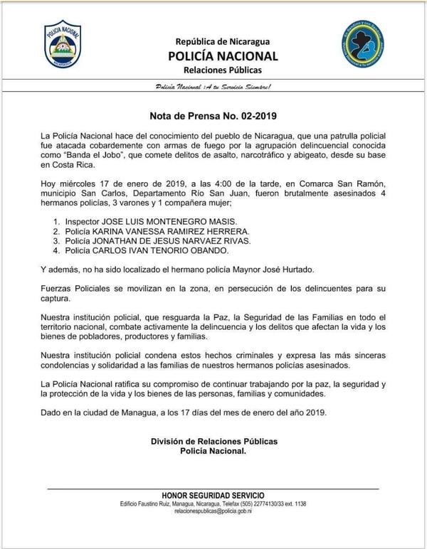 Esta es la nota de prensa que emitió desde el miércoles la Policía Nacional de Nicaragua.