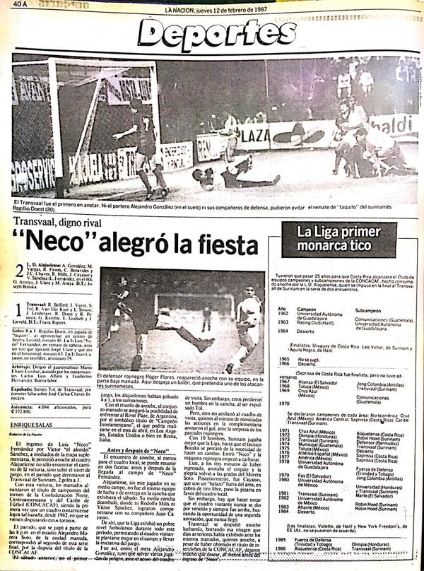 Liga marcó el camino en Concacaf. Neco Fernández destacó en el primer cetro de Concacaf; La Nación lo dijo el 12 de febrero de 1987.