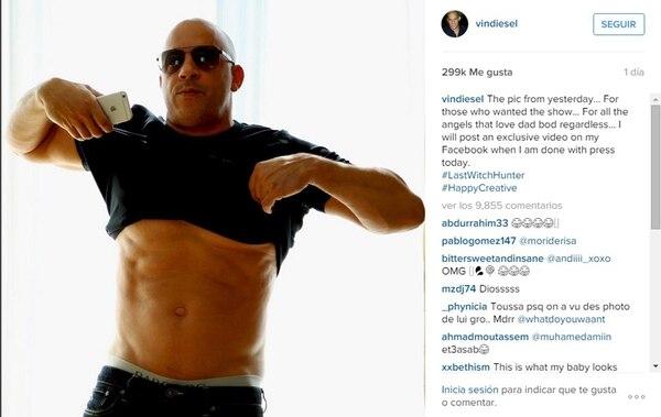 Vin Diesel aprovechó su cuenta en Instagram para mostrar sus músculos y le dejó un mensaje a quienes lo criticaron.Foto tomada de Instagram.
