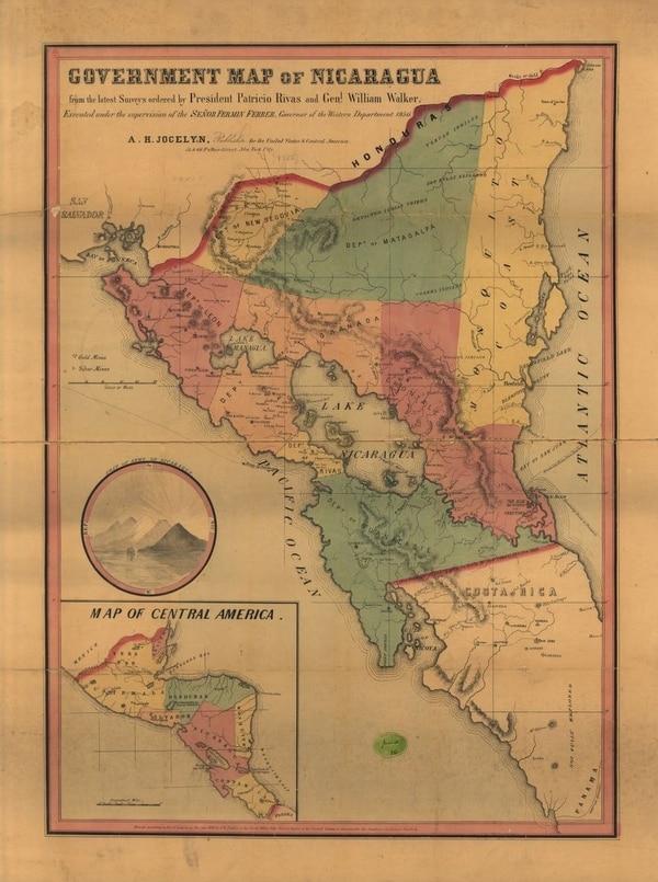 Mapa de Nicaragua de 1856 encomendado a cartógrafos estadounidenses por William Walker. Según el Museo Juan Santamaría, este documento prueba la meta de los filibusteros de unificar Costa Rica con Nicaragua, al incluir los territorios del departamento tico de Guanacaste (antes Moracia), en la geografía nicaragüense.