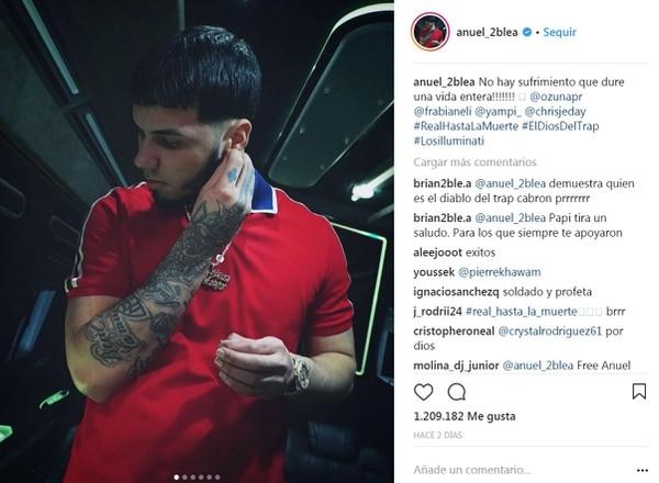 Captura de pantalla del Instagram de Anuel AA