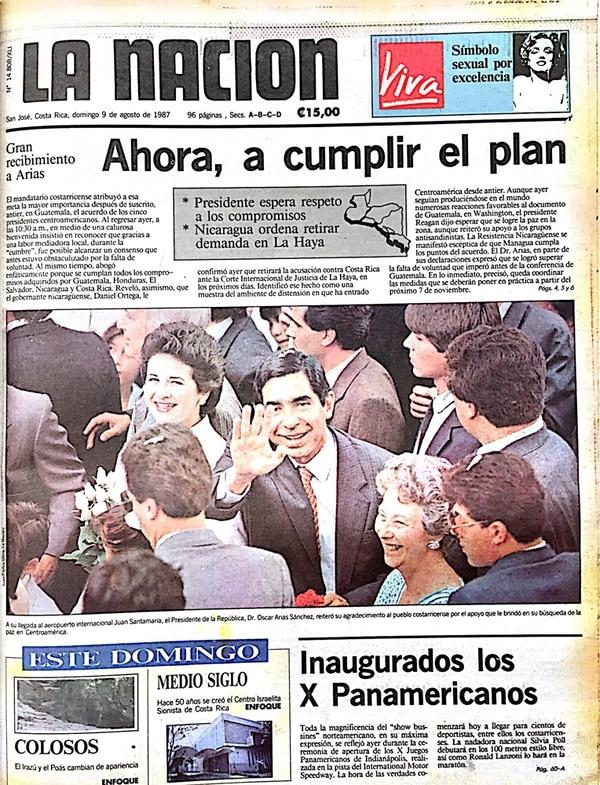 La firma, en 1987, de los acuerdos de paz, impulsada por Óscar Arias, fue motivo de celebración en todo el Istmo. Arias ganaría el Nobel de la Paz ese año. | FOTO: ARCHIVO DE LA NACIÓN.