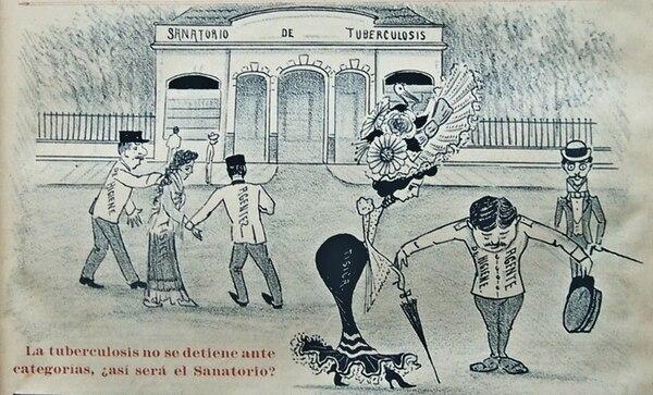 Ilustración que se refiere a la tuberculosis publicado el 17 de diciembre de 1904 en la revista De Todo Color. El autor es Juan Cumplido. Imagen: Ana Sánchez para LN.