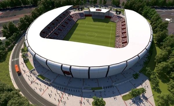 Este es uno de los diseños que Alajuelense analiza si se decide a construir un nuevo estadio. Fotografía: Cortesía
