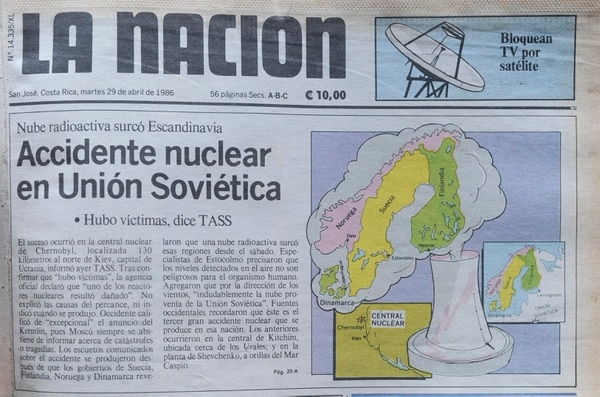 Portada de 'La Nación' del 29 de abril de 1986. Archivo Grupo Nación GN S.A.
