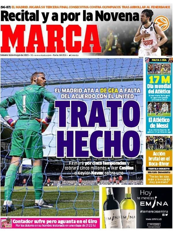 El posible fichaje de De Gea es el tema del día en España. | MARCA