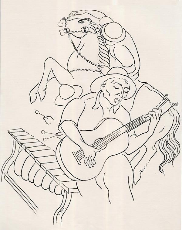 Dibujo del notable artista costarricense Juan Manuel Sánchez Barrantes (1907- 1990), Premio Nacional de Cultura Magón de 1982.