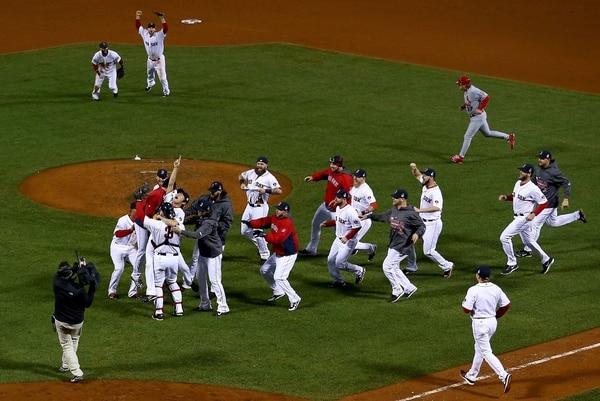 Así celebraron la Serie Mundial los Medias Rojas de Boston.