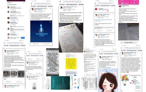 Algunos de los anuncios en redes sociales