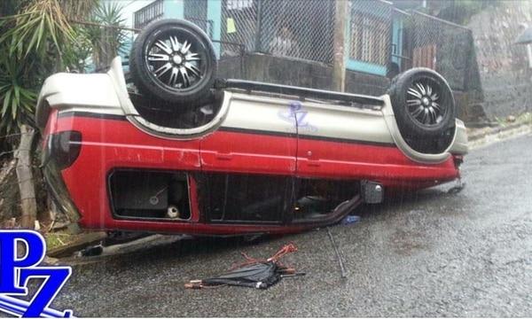 Así quedó el vehículo donde viajaban los jugadores del Pérez Zeledón Darryl Parker y Jorge Davis, tras quedar sin frenos
