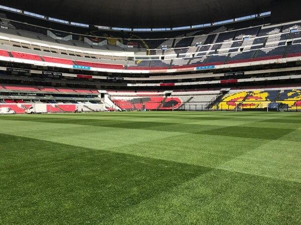 La gramilla híbrida del Estadio Azteca se encontraba el sábado pasado a un 90%. Fotografía: TMS