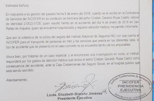 Esta es parte de la nota que envió Elizabeth Briceño a Rosa Rojas, hermana del peatón atropellado, en el cual le informa de el Incofer se hará responsable de la atención médica del afectado.