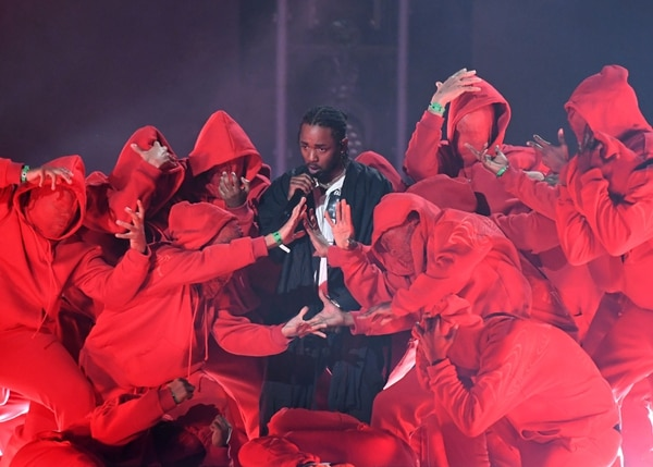 Kendrick Lamar performs during the 60th Annual Grammy Awards show on January 28, 2018, in New York. / AFP PHOTO / Timothy A. CLARY