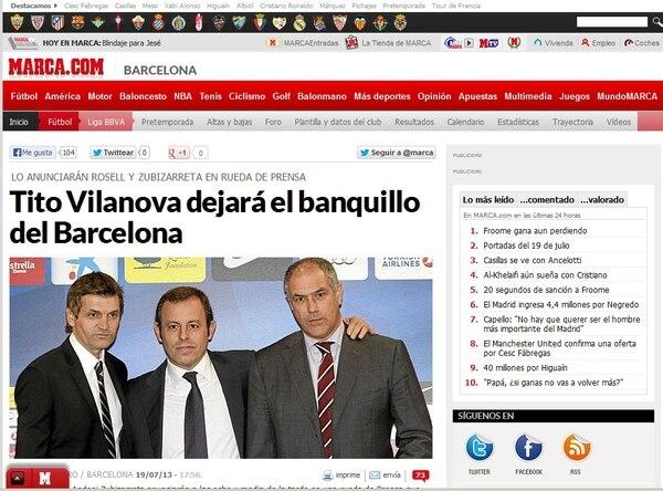 Esta es la nota de marca.com sobre la salida de Tito Vilanova del Barcelona