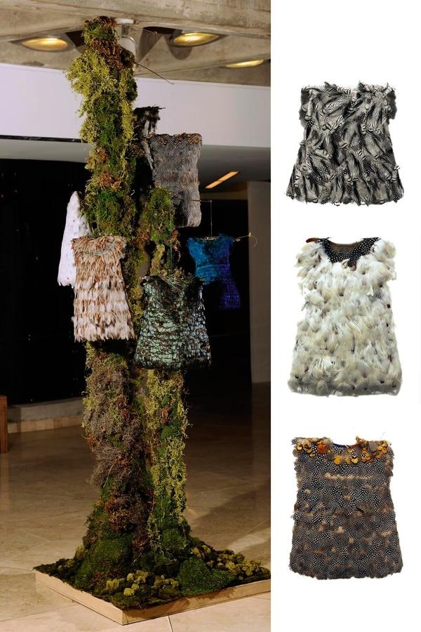 'El vuelo' es una instalación del 2016 de Cecilia Paredes. Al lado, algunos detalles de los vestidos de plumas.