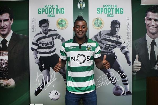 Joel Campbell el día de su presentación con el Sporting Lisboa.