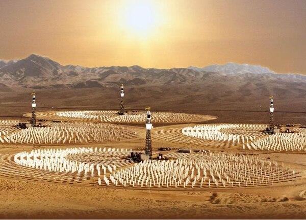 El sistema termo-solar concentra la luz solar en un punto en la cima de una torre central
