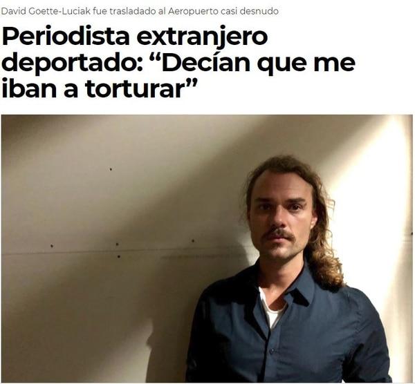 Carl Goette-Luciak, el periodista austro-estadounidense, expulsado por las autoridades de Nicaragua.