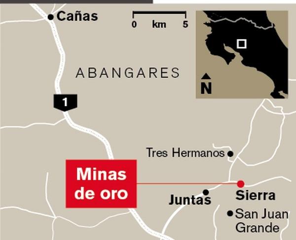Mapa de ubicación de las minas de oro en Abangares.