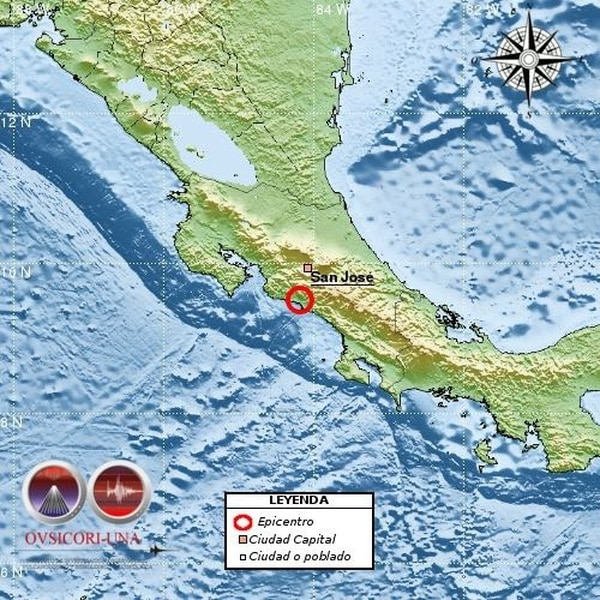 El Ovsicori ubicó el epicentro del sismo en Quepos. Foto: Ovsicori para LN