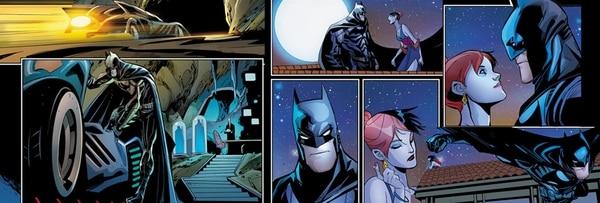 Batman a lo tico. | SEGMENTO DEL CÓMIC HARLEY QUINN: VALENTINE'S DAY SPECIAL , DIBUJADO POR COMPLETO POR JOHN TIMMS. IMAGEN: JOHN TIMMS/LN