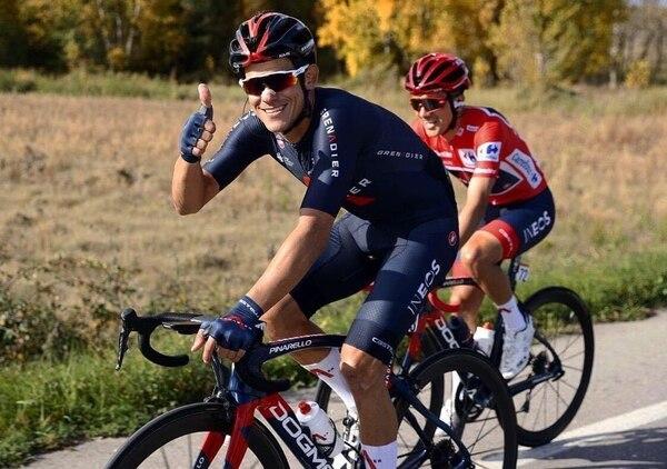 Andrey Amador sonreía en la décima etapa de la Vuelta España, una carrera en la que fue un peón de lujo para el ecuatoriano Richard Carapaz. Fotografía: Ineos