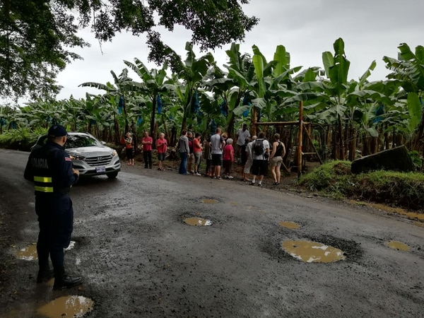La presencia policial cerca de las bananeras que llevan a parajes turísticos en el Caribe donde antes asaltaban, ahora más bien permiten a los operadores de turismo bajar a los turistas a conocer el proceso de siembra y recolección de bananos. Foto: MSP