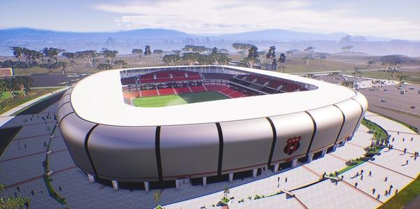 Así se vería el nuevo estadio de Alajuelense, si es que los socios aprueban el 8 de mayo que el proyecto se transforme en realidad. Fotografía: Prensa Alajuelense