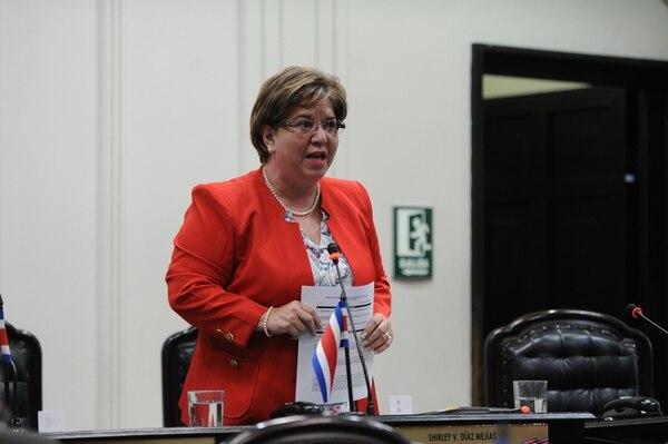 La diputada Shirley Díaz, del PUSC, fue la proponente de la moción. Foto: Melissa Fernández