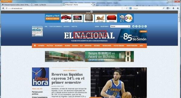 Se le impuso al diario venezolano 'El Nacional' una multa por publicar una fotografía que mostraba la morgue de Bello Monte y que fue publicada en el 2010. Esta es la página principal de la página web de este diario, del viernes 9 de agosto a las 10:00 a. m., hora de Costa Rica.