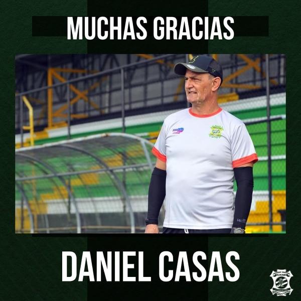 Limón anunció la salida del técnico Daniel Casas a través de sus redes sociales. Cortesía: Limón FC