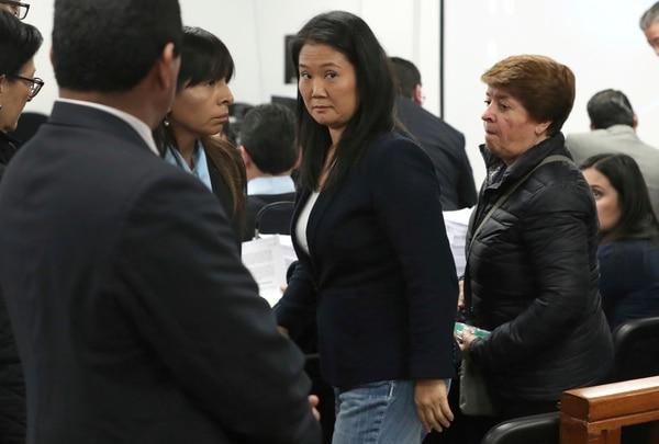 Keiko Fujimori, durante una audiencia en la que fiscales pedían 36 meses de prisión preventiva por supuesto lavado de dinero, el 24 de octubre del 2018.