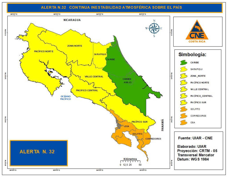 Tres cantones del Pacífico sur, que han sufrido este mes el embate de fuertes lluvias, están en alerta naranja. Imagen: CNE.