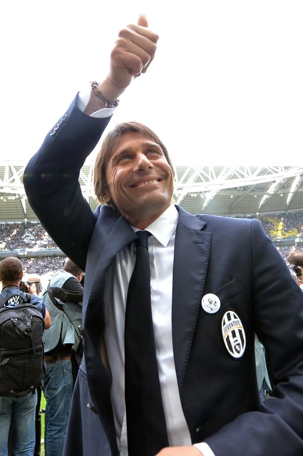 Antonio Conte celebra su tercer título liguero con la Juventus de Turín, el domingo en el Juventus Stadium.