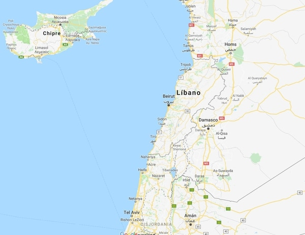 Mapa de Líbano.