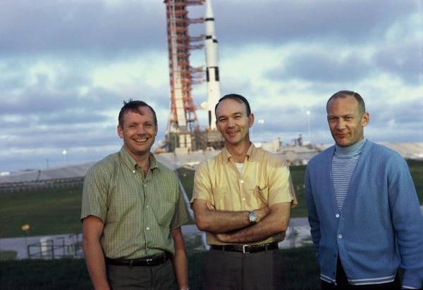 Los astronautas del Apolo 11, de izquierda a derecha, Neil Armstrong, Michael Collins y Edwin Aldrin Jr. Fotografía: Nat Geo para La Nación.