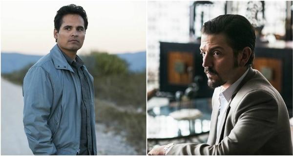 Michael Peña y Diego Luna en sus personajes del agente Enrique Camarena y el capo Félix Gallardo de 'Narcos México'. Foto: Netflix