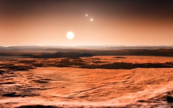 Esta es una impresión artística de lo que se veria desde el exoplaneta Gliese 667C