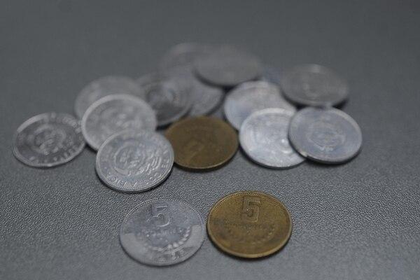 El Banco Central de Costa Rica dejará de producir monedas de ¢5 a partir del 1.° de enero del 2020. Fotografía: Jorge Navarro