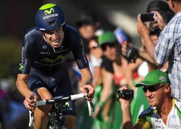 El portugués Rui Costa, compañero de Andrey Amador, en el equipo Movistar, ganó ayer el Tour de Suiza, tras imponerse en la prueba contrarreloj.   AFP