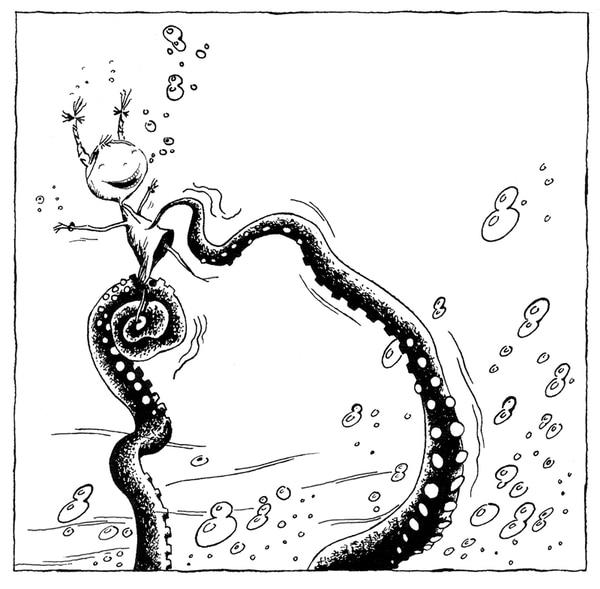 2. Tres cuentos cortospara viajes largos .Ilustración de Adián González.