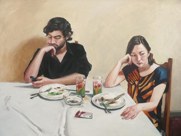 Obra Who Put the Weight of the World On My Shoulders ilustra una situación común. Juan Carlos Herrera p/ LN