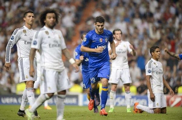Álvaro Morata tuvo una celebración muy reservada en su anotación, ya que hizo las divisiones menores en el Real Madrid. | AFP