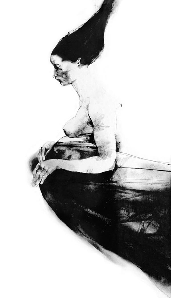 2. Madre es un dibujo reproducido con la técnica giglée , propiedad de la Casa del Artista.