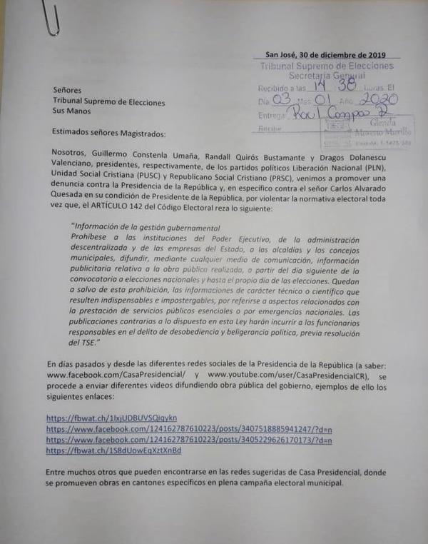 Denuncia del PLN, el PUSC y el Partido Republicano Social Cristiano contra el presidente gobierno y el presidente Carlos Alvarado.