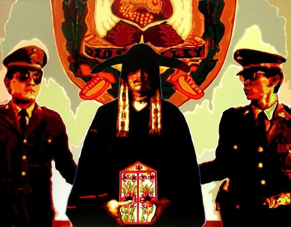 4. El sospechoso . Serigrafía basada en un óleo de Francisco Laso.