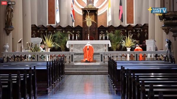 Los templos lucieron vacíos durante la Semana Santa debido a las restricciones de salud por la pandemia de coronavirus. Captura de pantalla - San José TV